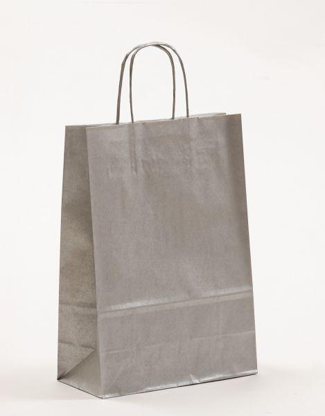 Papiertasche mit gedrehtem Papiergriff Metallic Silber