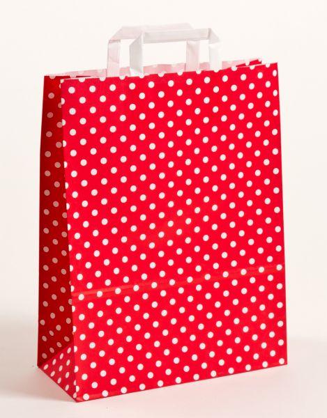 Flachhenkeltasche Punkte Rot