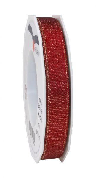Satinband Glitter 15mm/20m Weinrot