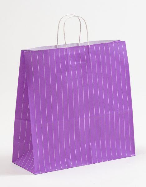 Papiertasche mit gedrehtem Papiergriff Nadelstreifen Violett