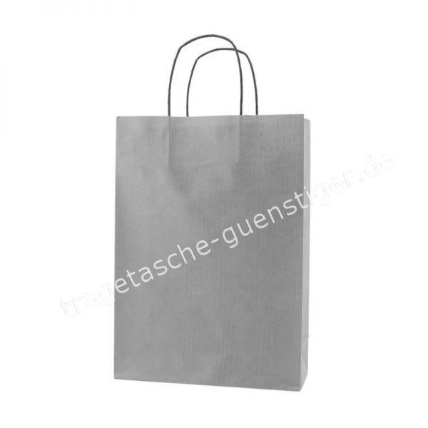 Papiertasche mit gedrehtem Papiergriff Silber