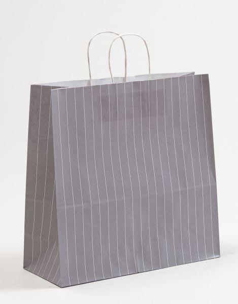 Papiertasche mit gedrehtem Papiergriff Nadelstreifen Grau