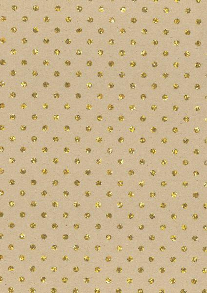 Geschenkpapier Glitter Punkte Gold