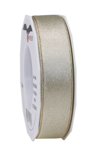 Satinband Glitter 25mm/20m Creme