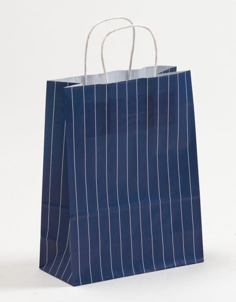 Papiertasche mit gedrehtem Papiergriff Nadelstreifen Blau