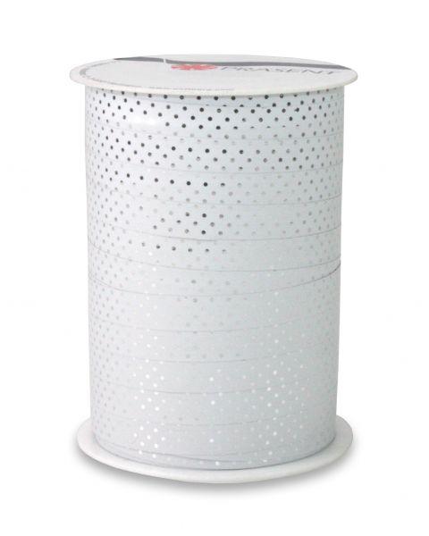 Metallic Ringelband Punkte Weiß