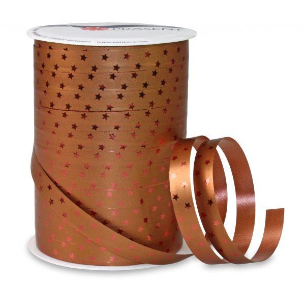 Metallic Ringelband Sterne Kupfer