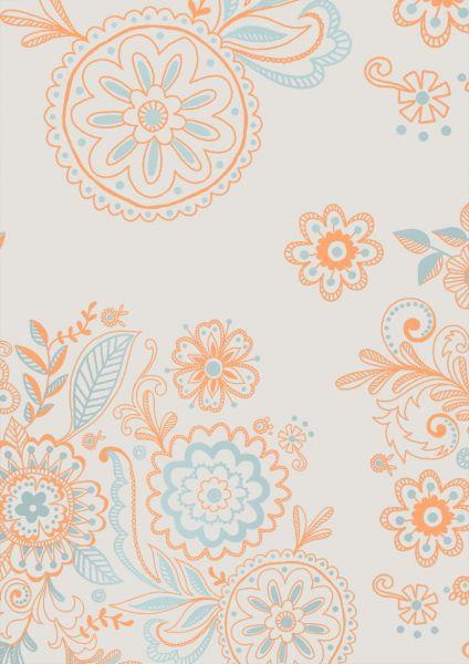 Geschenkpapier Metallic Blumen Apricot/Blau