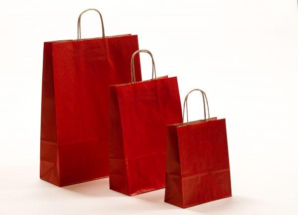 Papiertasche mit gedrehtem Papiergriff Rustikal Rot