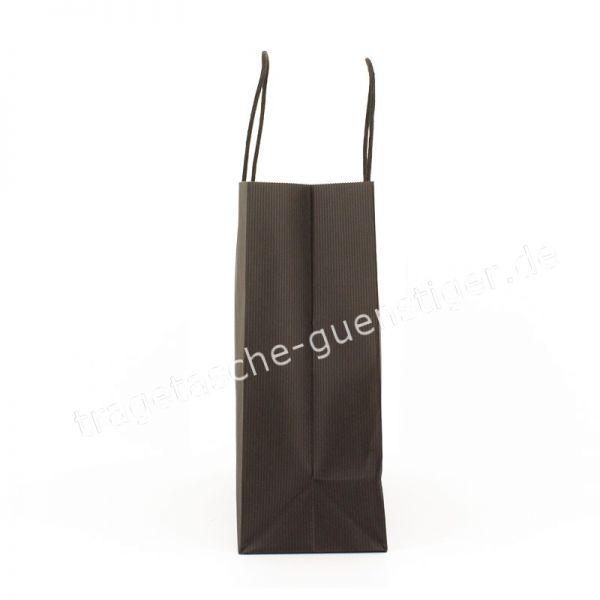 Papiertasche mit gedrehtem Papiergriff Querformat Schwarz