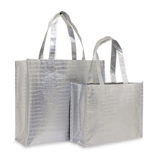 Non-Woven Croco Shopper Silber