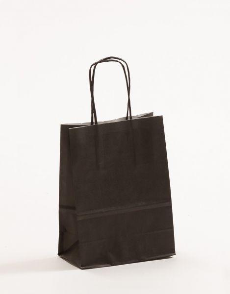Papiertasche mit gedrehtem Papiergriff Uni Schwarz