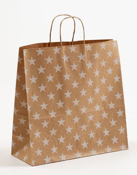 Papiertasche mit gedrehtem Papiergriff Sterne Weiß