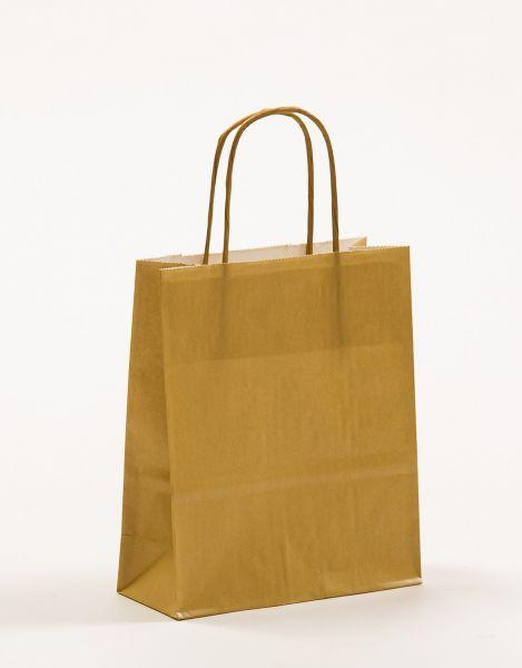 Papiertasche mit gedrehtem Papiergriff Metallic Gold
