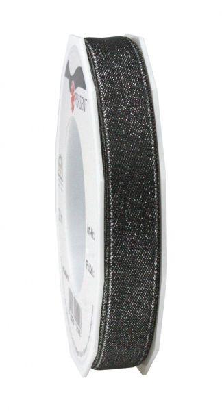 Satinband Glitter 15mm/20m Schwarz