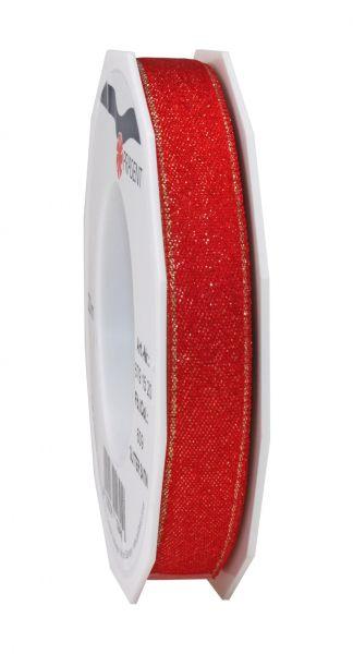 Satinband Glitter 15mm/20m Rot