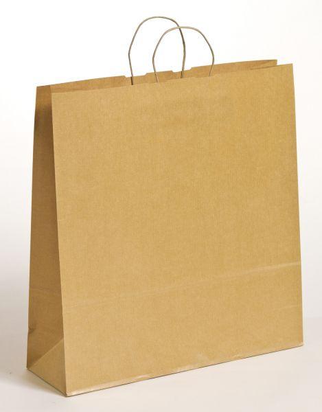 Papiertasche mit gedrehtem Papiergriff Uni Natron Braun