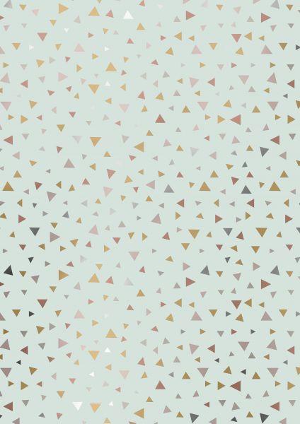 Geschenkpapier Metallic Dreiecke Mint/Gold