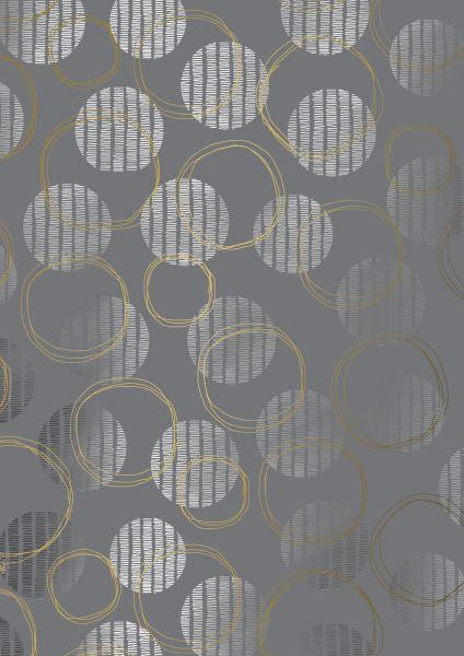 Geschenkpapier Metallic Silber Kreise