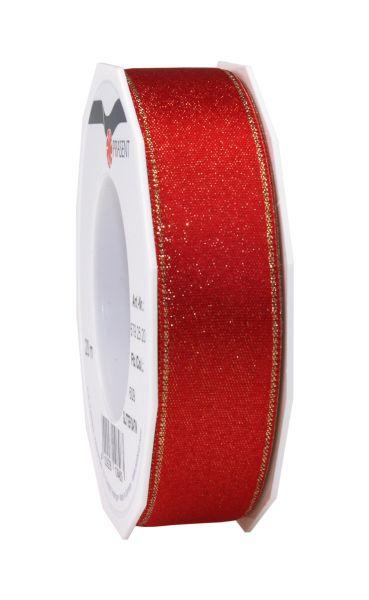 Satinband Glitter 25mm/20m Rot
