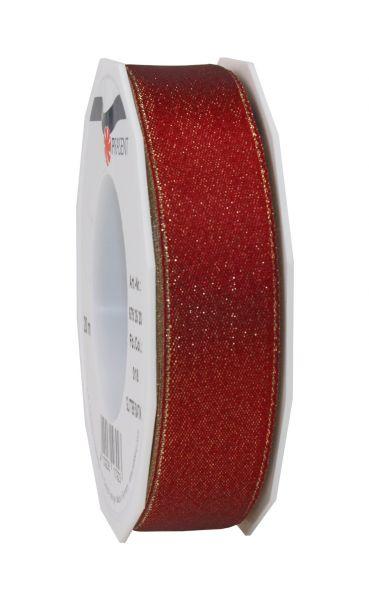 Satinband Glitter 25mm/20m Weinrot