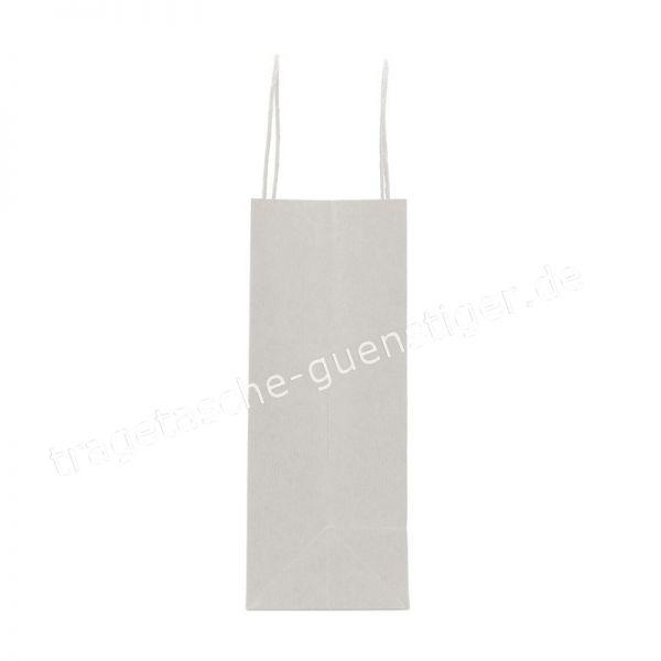 Papiertasche mit gedrehtem Papiergriff Querformat Weiß