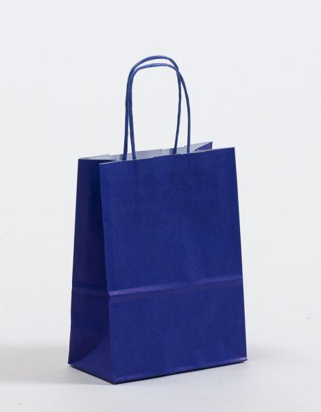 Papiertasche mit gedrehtem Papiergriff Uni Blau