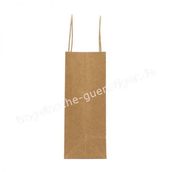 Papiertasche mit gedrehtem Papiergriff Querformat Braun